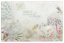 Medium Glass Cutting Board: Serve in Love (Gal 5:13)