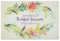 Medium Glass Cutting Board: Faithful Stewards (Colored Wreath)