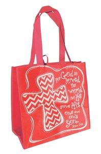 Eco Totes: Chevron Cross, Red With Red Sides
