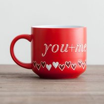 Jumbo Ceramic Mug: You + Me (1 John 4:19 NIV) (Red/hearts)