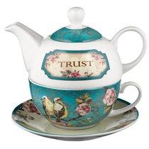 Ceramic Tea Pot & Colored Saucer: Trust Turquoise Birds
