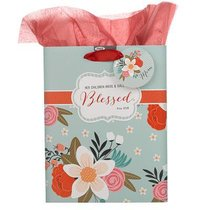 Gift Bag Medium: Blessed Flowers (Incl Tissue Paper & Gift Tag)