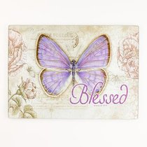 Large Glass Cutting Board: Blessed Butterfly Purple