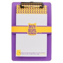 Clipboard With Notepad: Safe and Secure Purple/Yellow