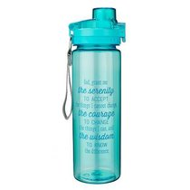 Plastic 750ml Water Bottle: Serenity Prayer _ (Blue)