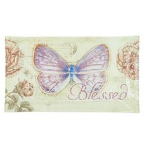 Glass Tray: Blessed Butterfly Purple (Jeremiah 17:7)
