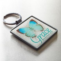 Metal Keyring: Grace Butterfly Blue/Green (Eph 2:8)