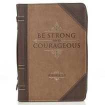 Bible Cover Classic Medium: Strong and Courageous Joshua 1:9 Beige/Brown