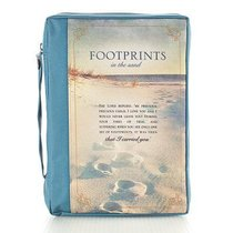 Bible Cover Polyester Medium: Footprints in the Sand/ Navy/Picture