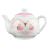 Ceramic Tea Pot: Believe Butterfly/Pink