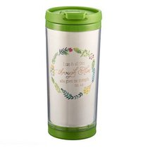 Polymer Mug W/Design Insert: I Can Do All This, Colored Wreath (Lime Green/white)