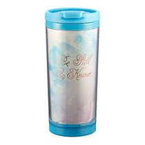 Polymer Mug W/Design Insert: Be Still & Know (Light Blue/gold)