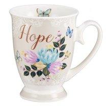 Ceramic Mug & Coaster in Tin: Hope (White/flowers/butterflies)