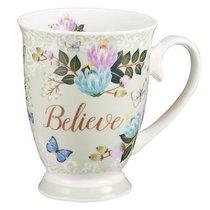 Ceramic Mug & Coaster in Tin: Believe (Pale Green/flowers/butterflies)