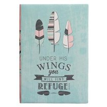 Silky-Soft Printed Journal: Under His Wings Feathers Blue Luxleather