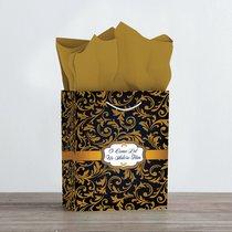 Christmas Gift Bag Medium: Blue & Gold - O Come Let Us Adore Him (Matthew 2:2)