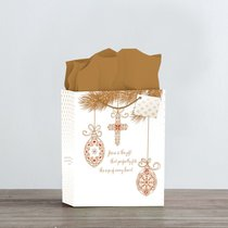 Christmas Gift Bag Large: Inspiring Ornaments (James 1:17) (Incl Tissue Paper & Gift Tag)