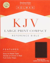 KJV Large Print Compact Black Magnetic Flap (Red Letter Edition)