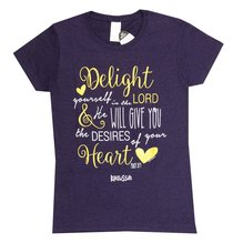 Womens T-Shirt: Delight in the Lord Medium Dark Purple/Gold/White (Missy Cut)