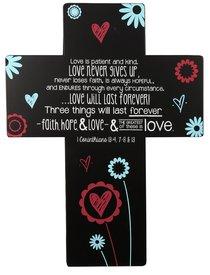 Joy Blossoms Wall Cross: Love Black/Red/Blue/White (1 Cor 13:4, 7-8 & 13)