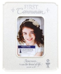 Photo Frame Cast Stone: First Communion Desktop (John 6:35)