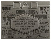 Laser Engraved Plaque: Dad Silver (1 Cor 15:58)