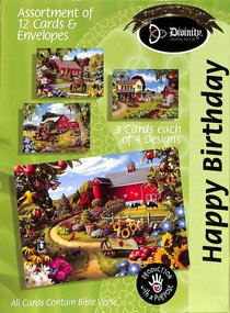 Boxed Cards Happy Birthday: Cottage Gardens