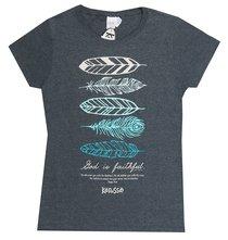 Womens T-Shirt: Feathers 3x-Large Black/Blue Feathers (Regular Cut)