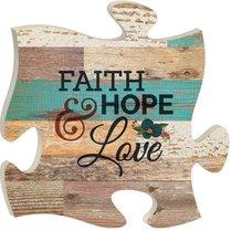Puzzle Pieces Wall Art: Faith, Hope, Love