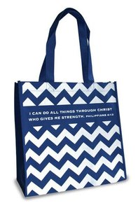 Eco Totes: I Can Do All Things, Chevron Navy With Navy Sides