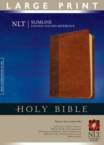 NLT Slimline Center Column Reference Large Print Indexed Brown/Tan Tutone (Red Letter Edition)