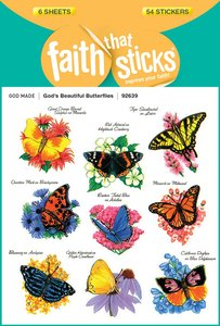 Gods Beautiful Butterflies (6 Sheets, 54 Stickers) (Stickers Faith That Sticks Series)