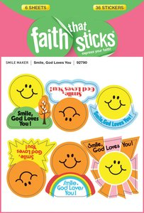 Smile, God Loves You (6 Sheets, 36 Stickers) (Stickers Faith That Sticks Series)