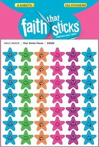 Star Smile Faces (6 Sheets, 252 Stickers) (Stickers Faith That Sticks Series)
