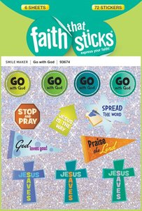 Go With God (6 Sheets, 72 Stickers) (Stickers Faith That Sticks Series)