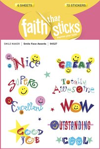 Smile Face Awards (6 Sheets, 72 Stickers) (Stickers Faith That Sticks Series)