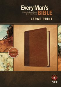 NLT Every Mans Bible Large Print Brown/Tan (Black Letter Edition)