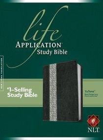 NLT Life Application Study Bible Black/Vintage Ivory Floral Tutone Leatherlike