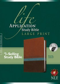 NLT Life Application Study Bible Indexed Large Print Brown Tan Heather Blue (Red Letter Edition)