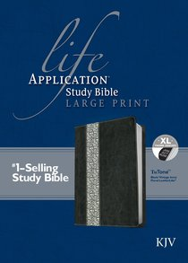 KJV Large Print Life Application Study Bible Indexed Black Vintage Ivory Floral Tutone (Red Letter Edition)