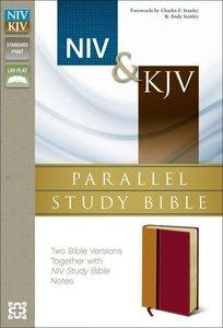 Niv/Kjv Side-By-Side Study Bible Italian Duo-Tone Orange/Red