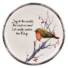 Christmas Round Cookie Plate: Joy to the World..... Bird Sitting in Tree