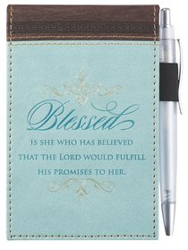 Pocket Notepad With Pen: Blessed Turquoise/Brown (Luke 1:45)