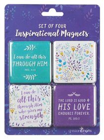 Inspirational Magnet Pack: I Can Do All This Through....Purple/Floral (Phil 4:13)