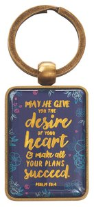 Metal Keyring: May He Give You the Desire of Your Heart Navy/Floral/Gold (Psalm 20:4)