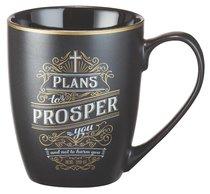 Ceramic Mug Vintage Art: Plans to Prosper (Black/white/gold)
