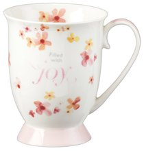 Ceramic Mug Sing For Joy: Joy (Orange/floral/white)