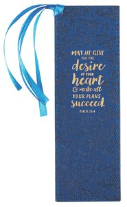 Bookmark With Tassel: May He Give You the Desire of Your Heart Navy/Floral/Gold (Psalm 20:4)