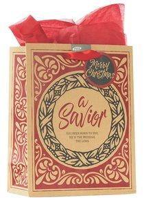 Christmas Gift Bag Medium: A Savior With Tissue Paper, Gift Tag & Satin Ribbon Handles