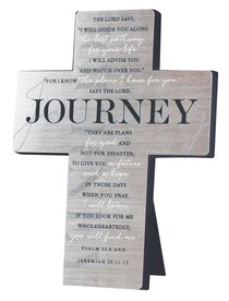 Metal Desktop Cross: Journey, Silver Printed (Psalm 32:8 & Jer 29:11-13)